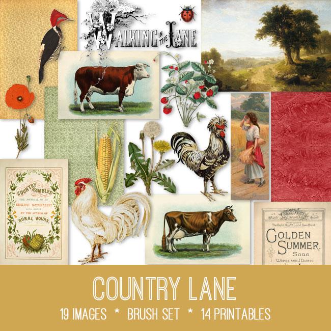 country lane ephemera vintage images