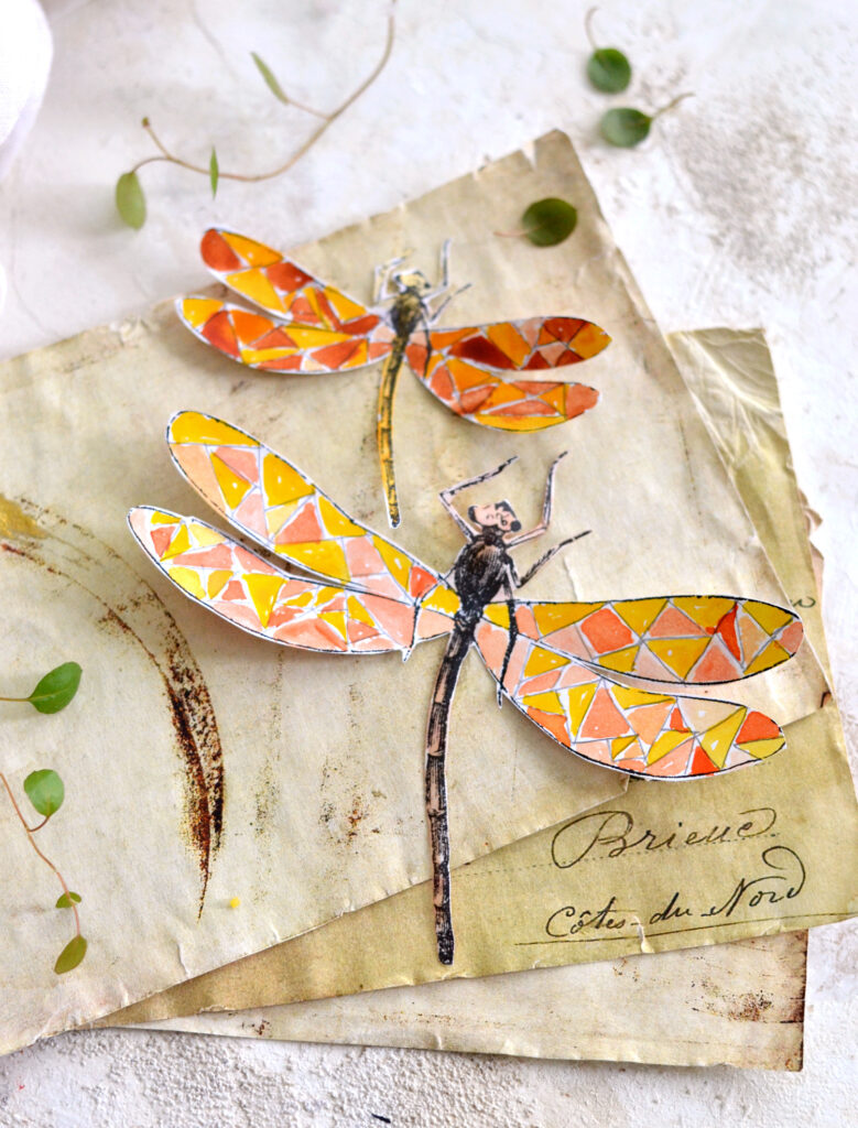 DIY Faux Stained Glass Dragonfly Stickers
