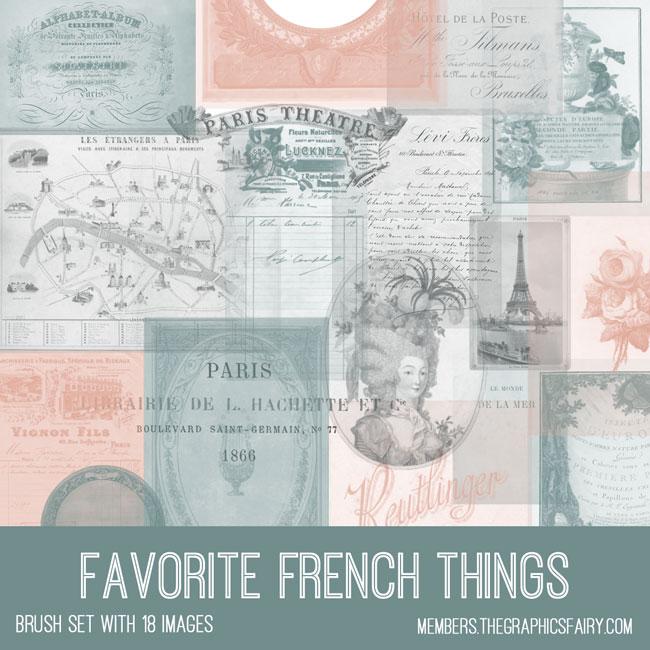 vintage favorite French things ephemera digital image bundle