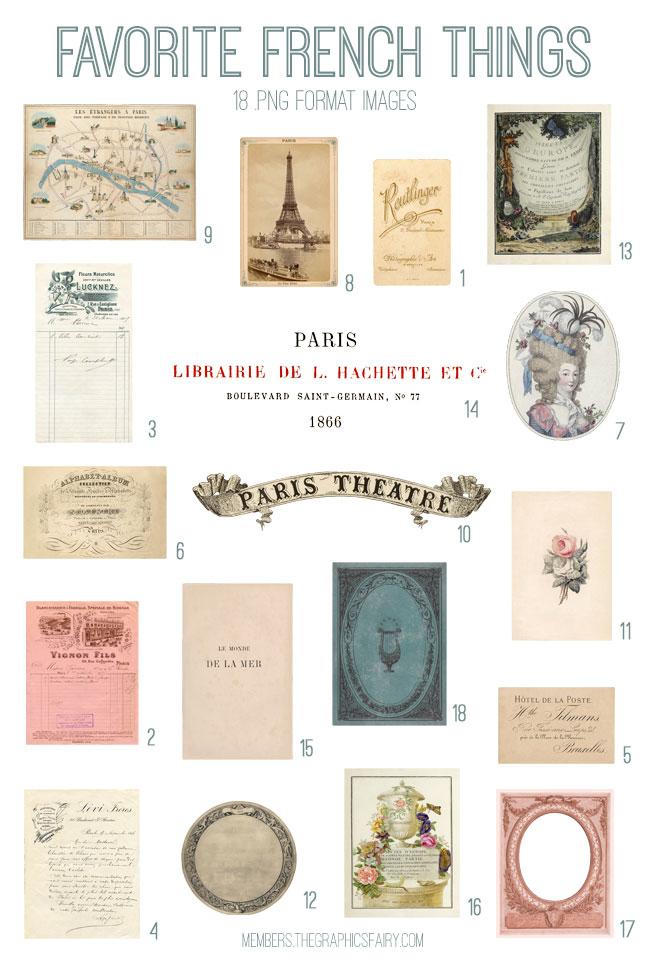 vintage favorite French things ephemera bundle