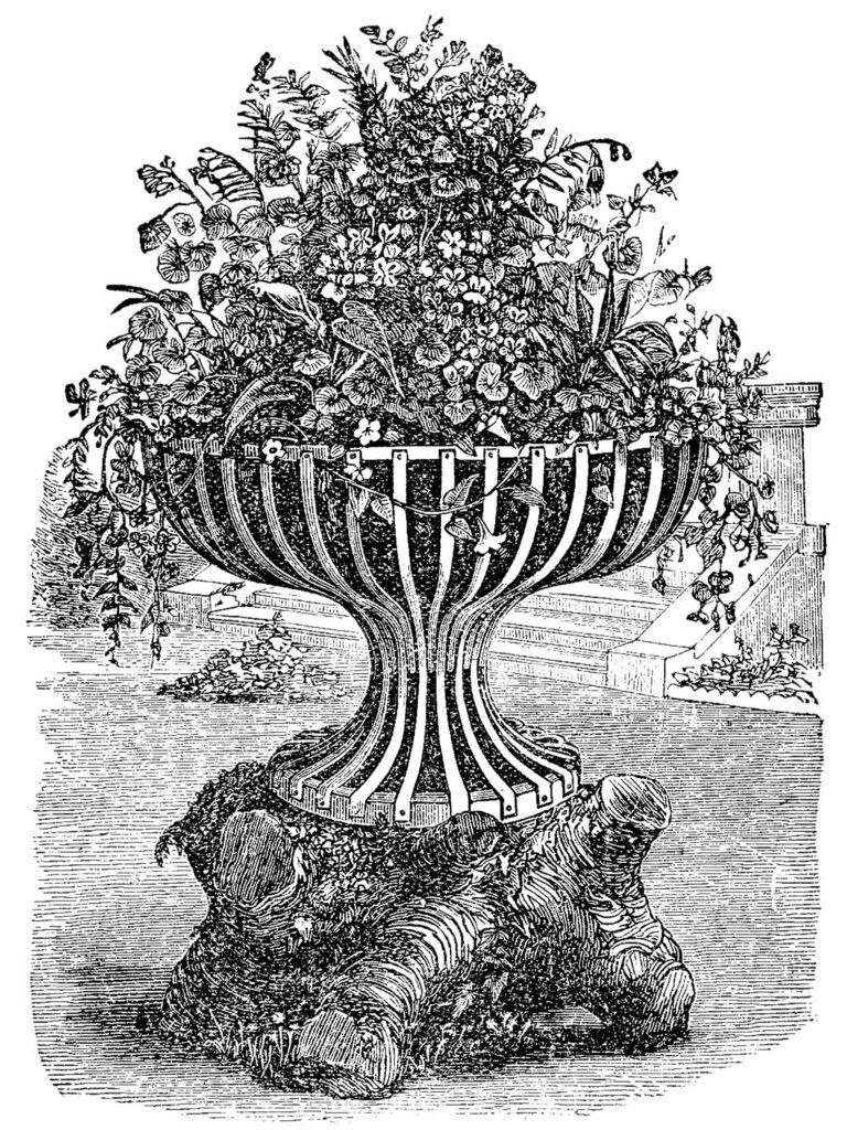 black white urn flowers garden illustration