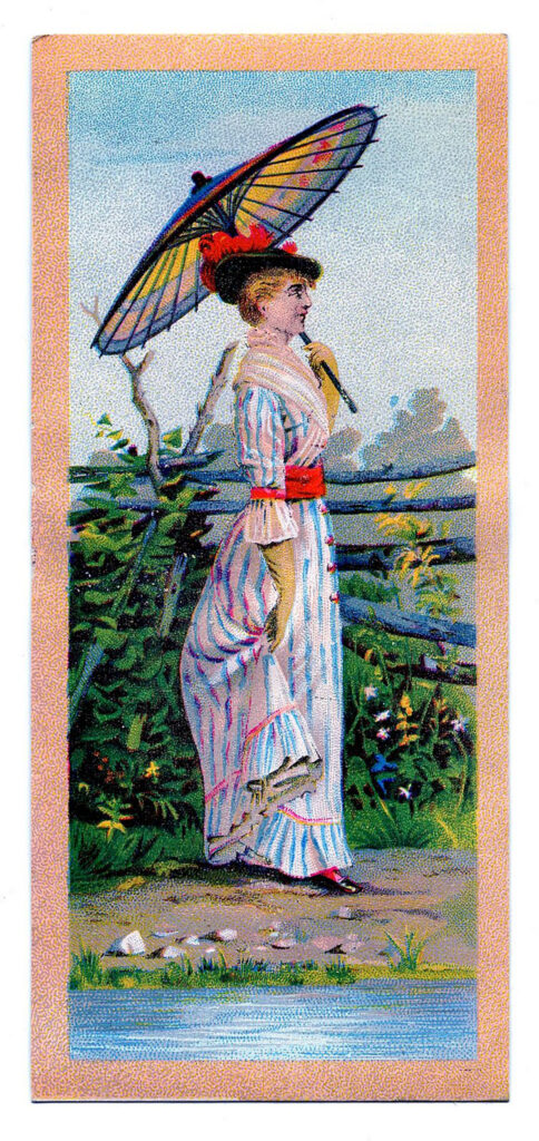 lady parasol vintage illustration