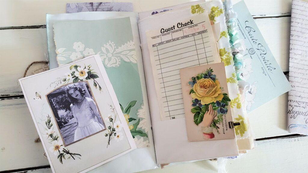 blue and yellow ephemera journal page
