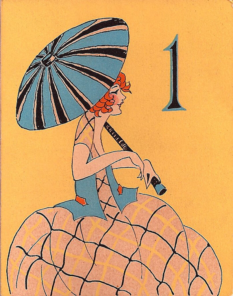 vintage tally girl blue parasol illustration