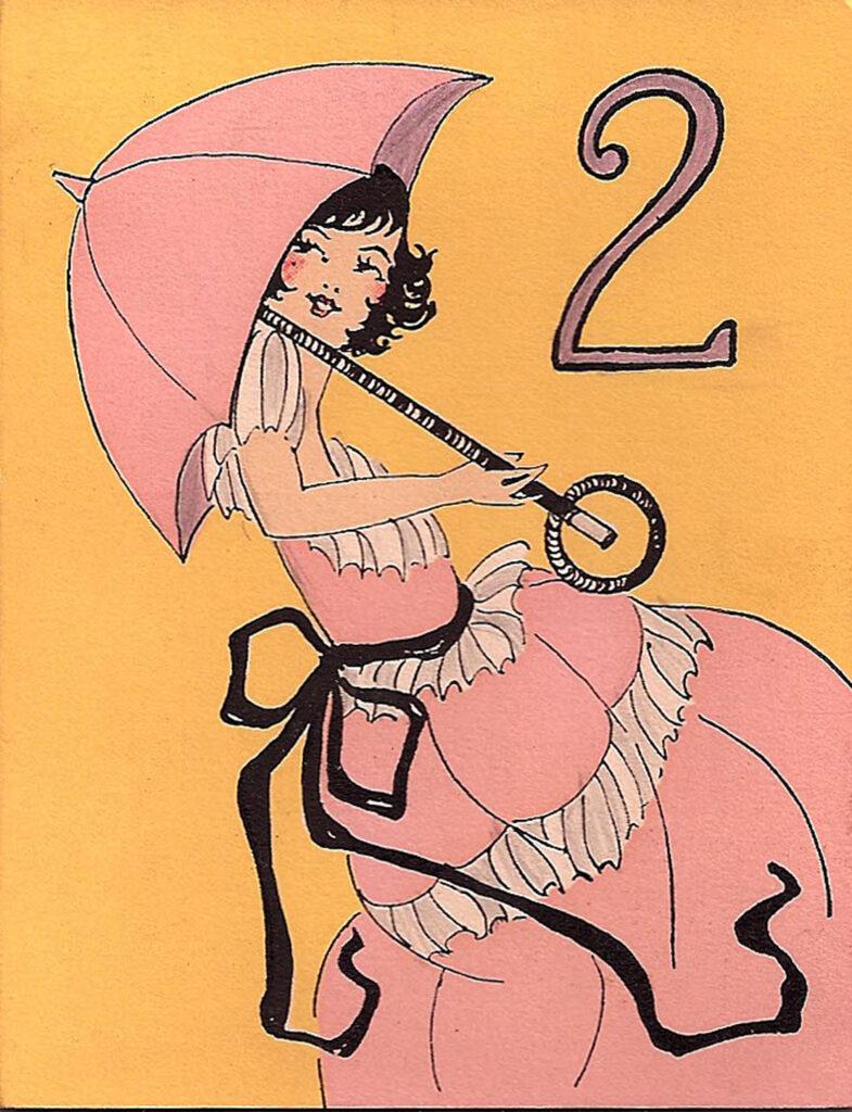 girl pink parasol vintage tally image