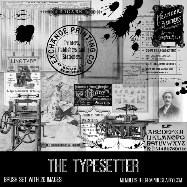 vintage typesetter ephemera brush set