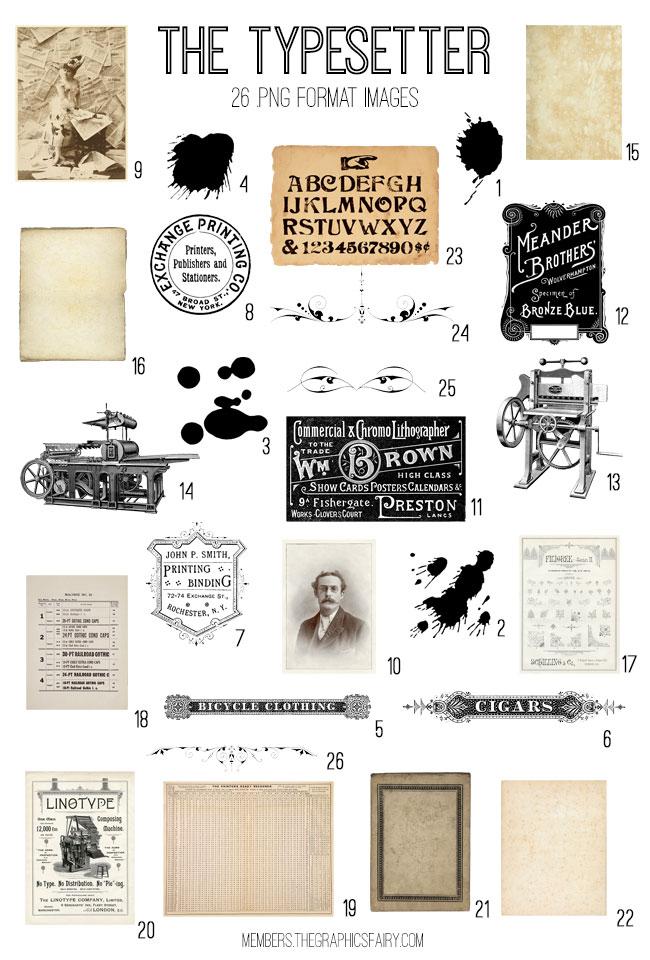 vintage typesetter ephemera digital image bundle