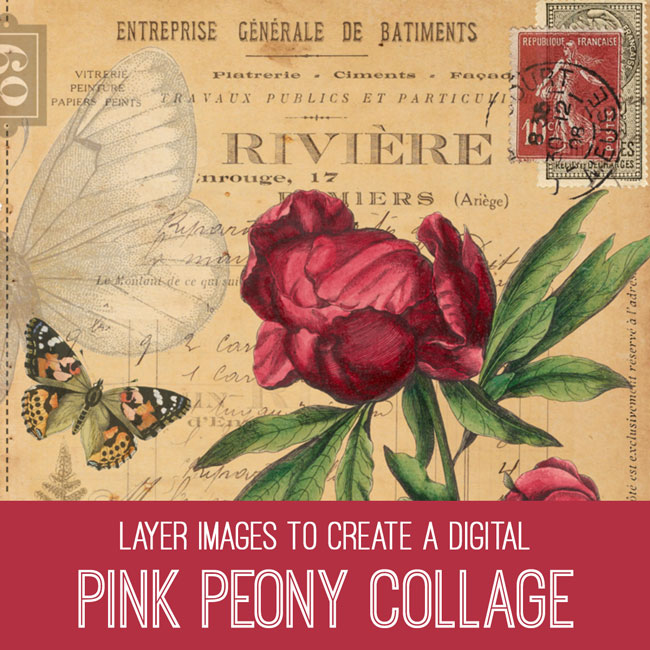 pink peony collage PSE tutorial