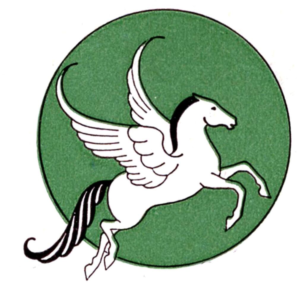 Pegasus green circle background illustration