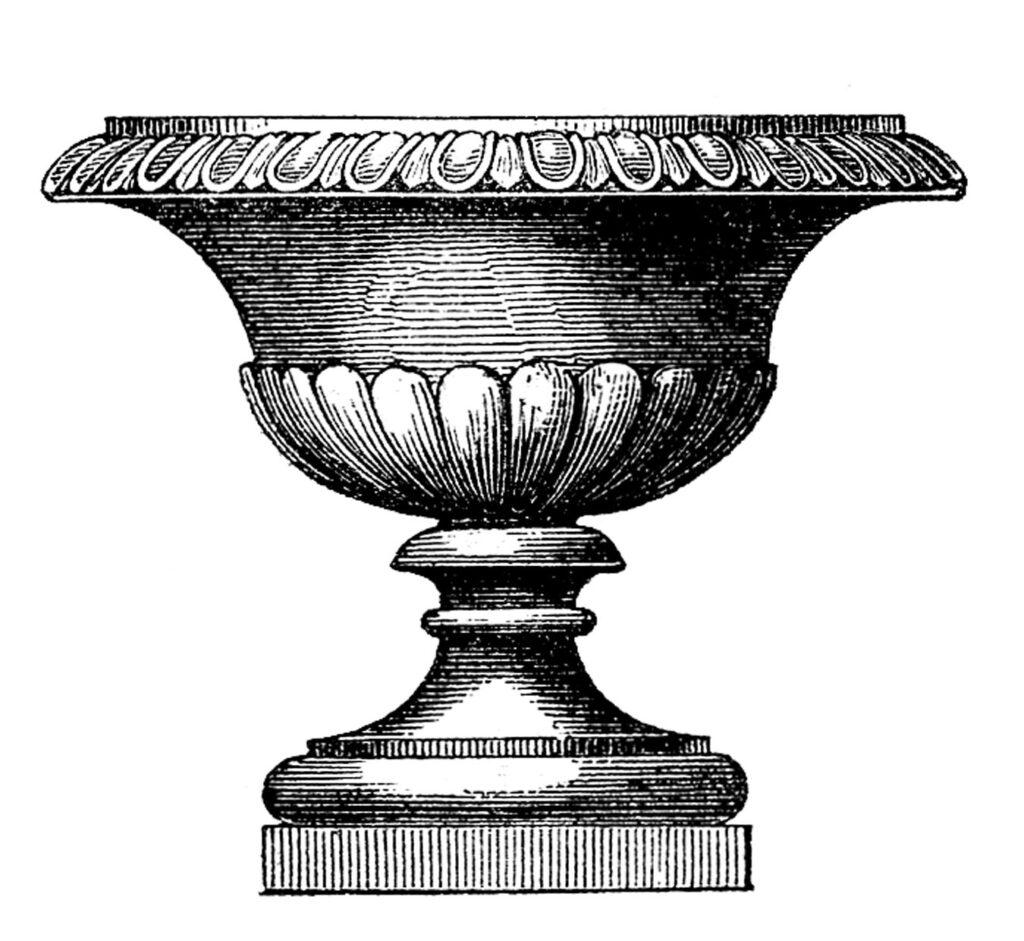 round garden urn vintage clipart