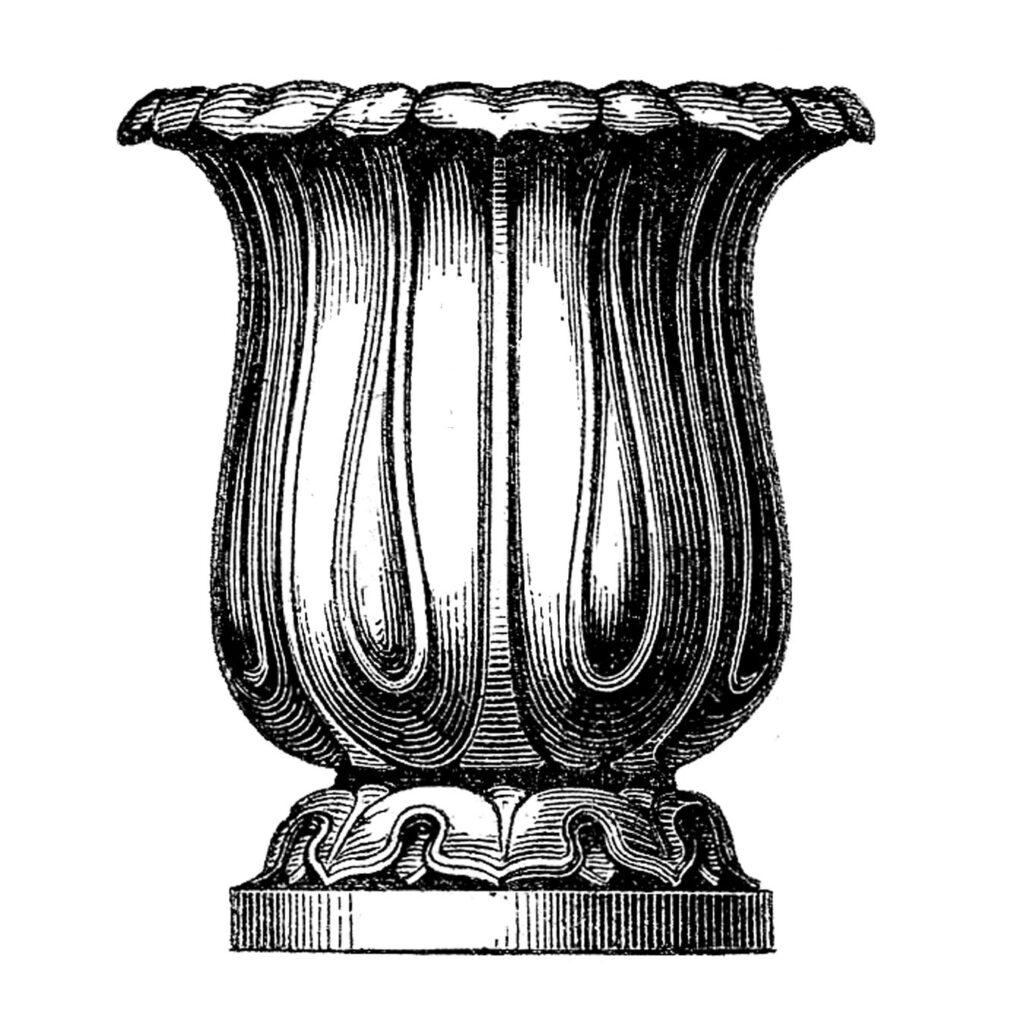 black white urn clipart