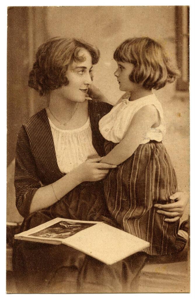 vintage mother child photo image
