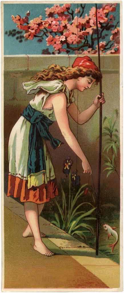 lady fishing vintage illustration