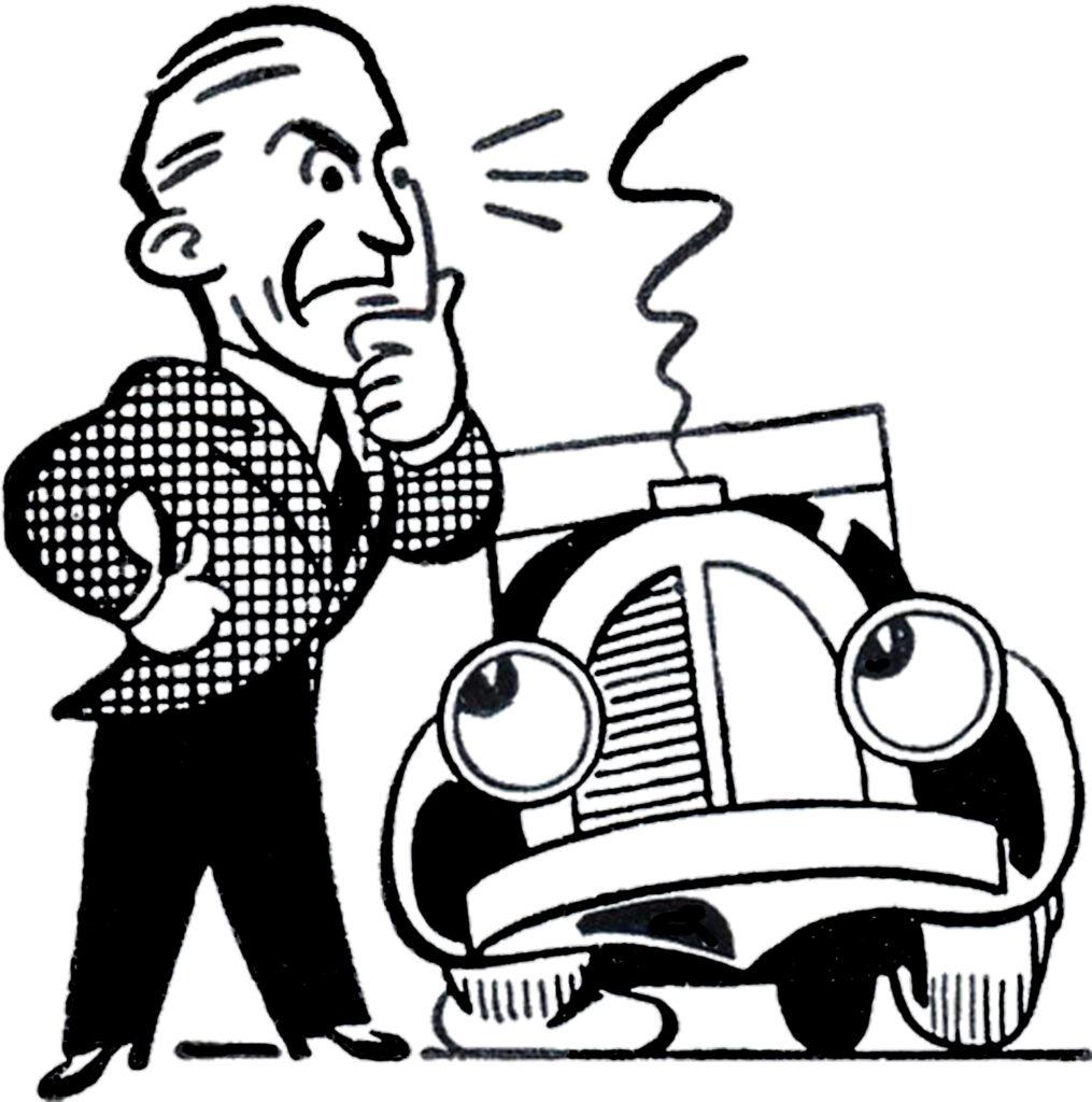 man broken down auto image
