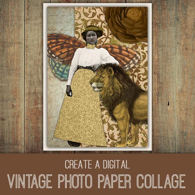 PSE Tutorial vintage photo paper collage