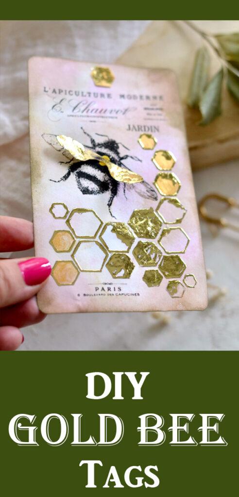 DIY Gold Bee Tags Pin