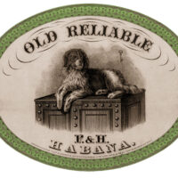 Old Reliable dog cigar box label clipart