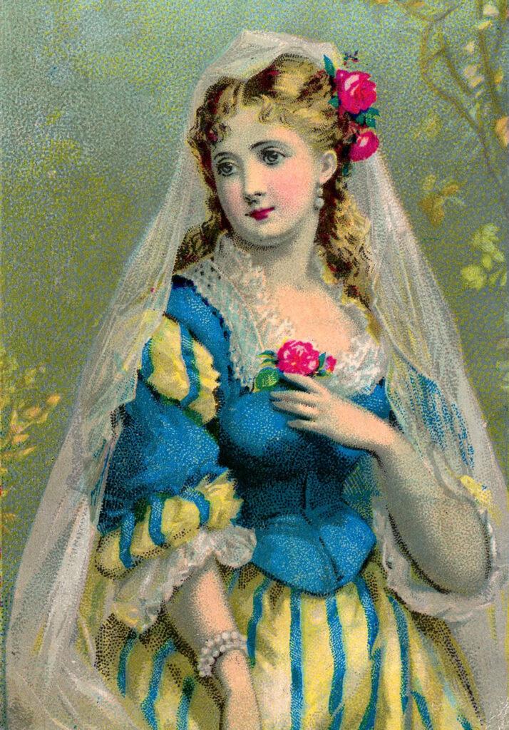 Elizabethan bride veil rose image