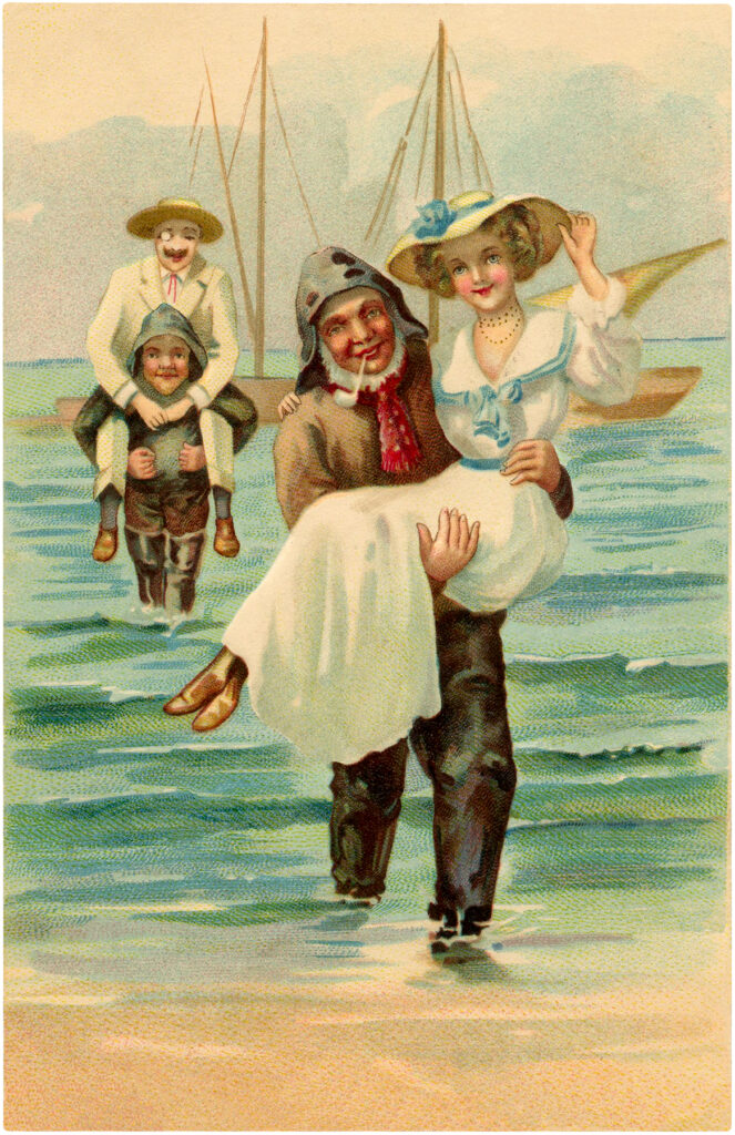 fisherman rescue lady illustration