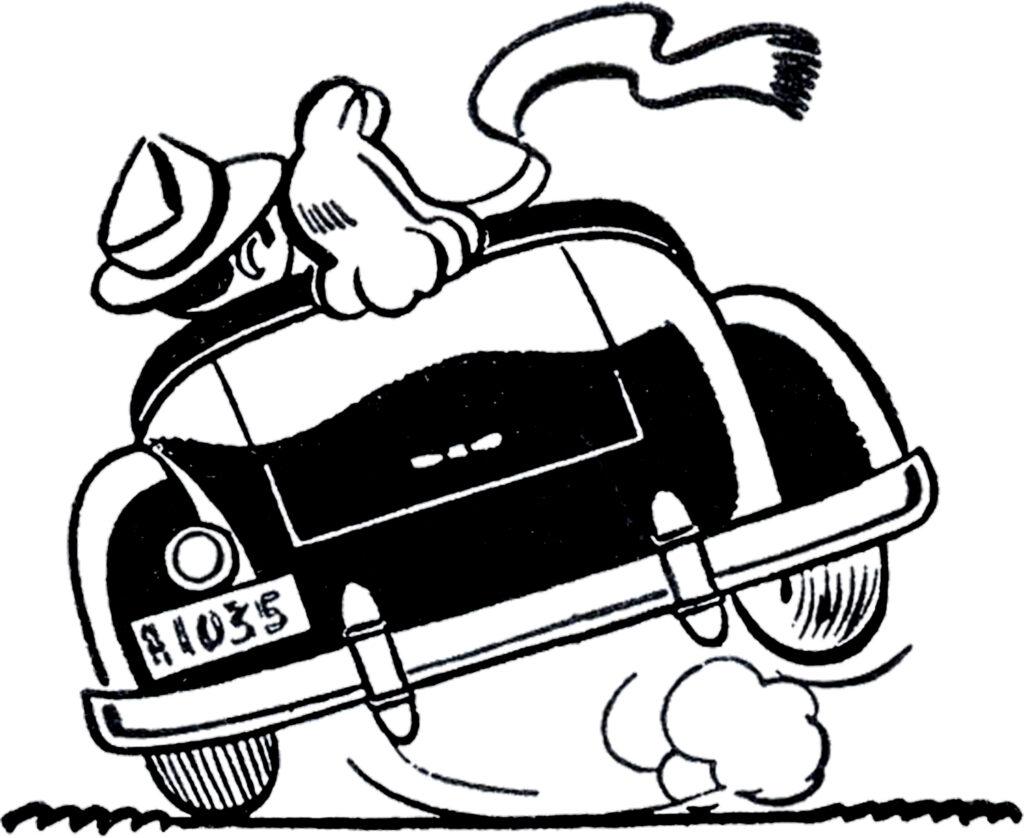 honeymoon car retro image