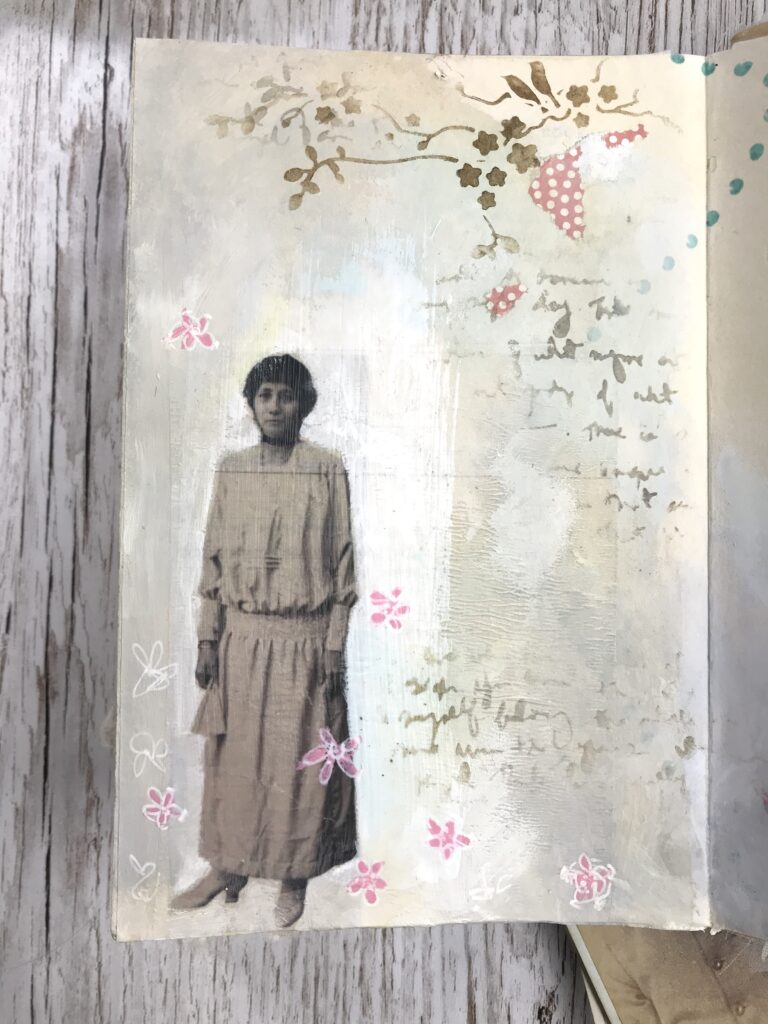 lady journal page mixed media
