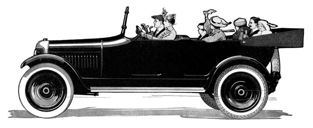 old fashioned car passengers illustration