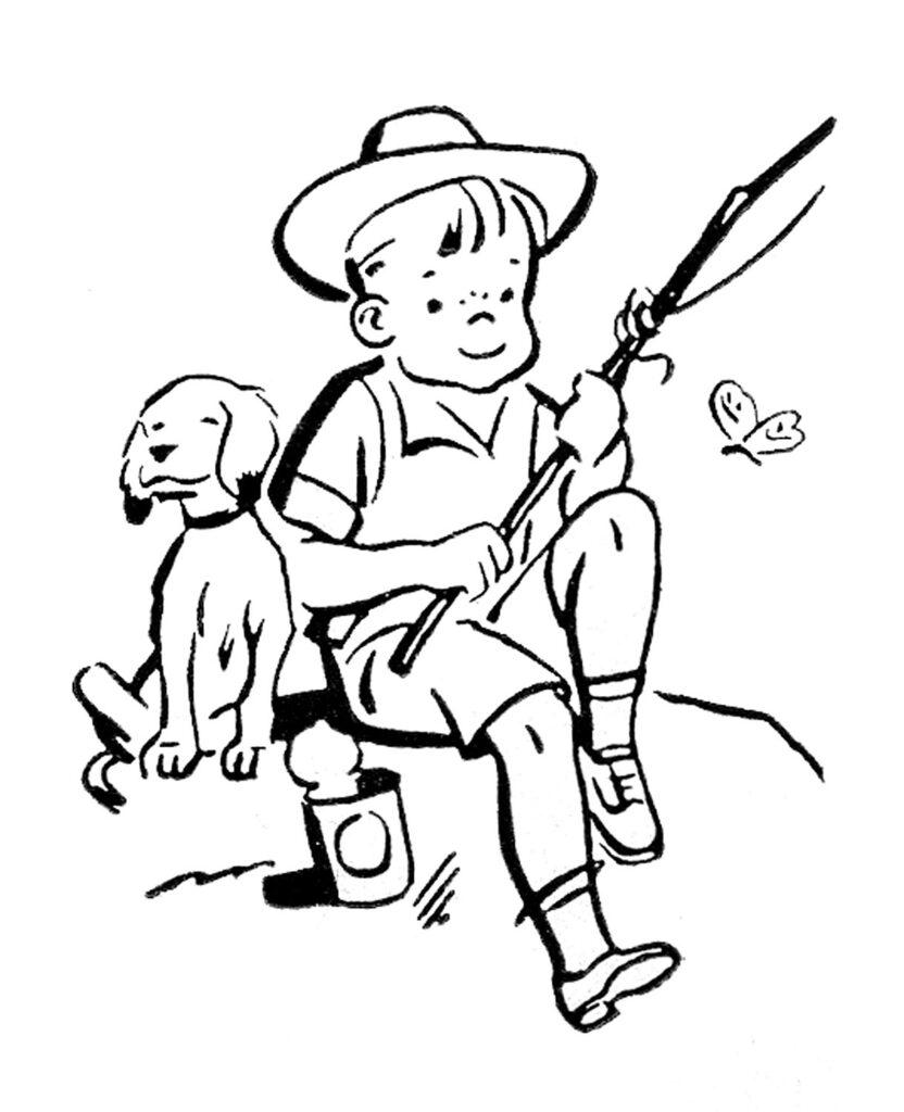 retro boy dog fishing image