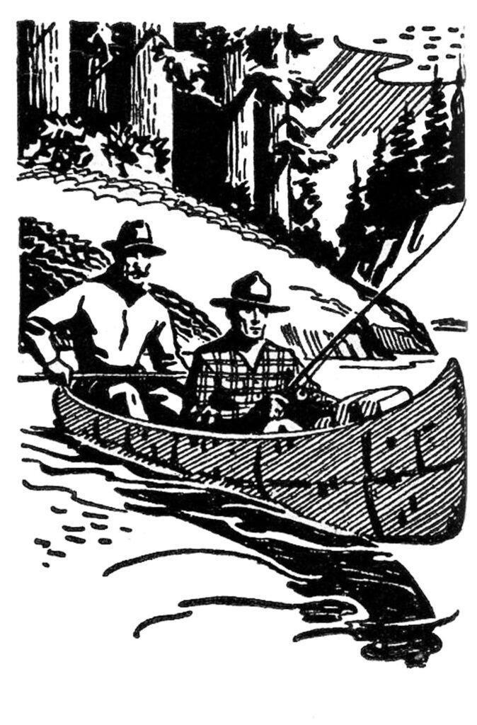 retro men canoe fishing clipart