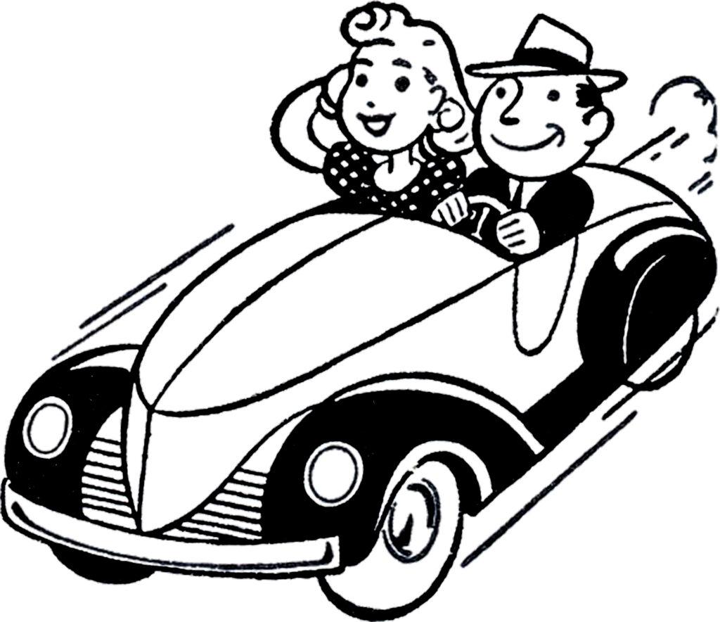 retro black white car picture