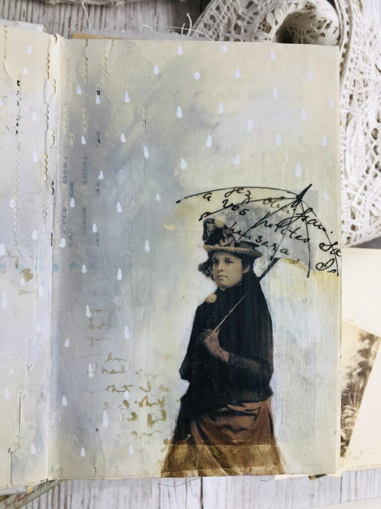 umbrella mixed media collage