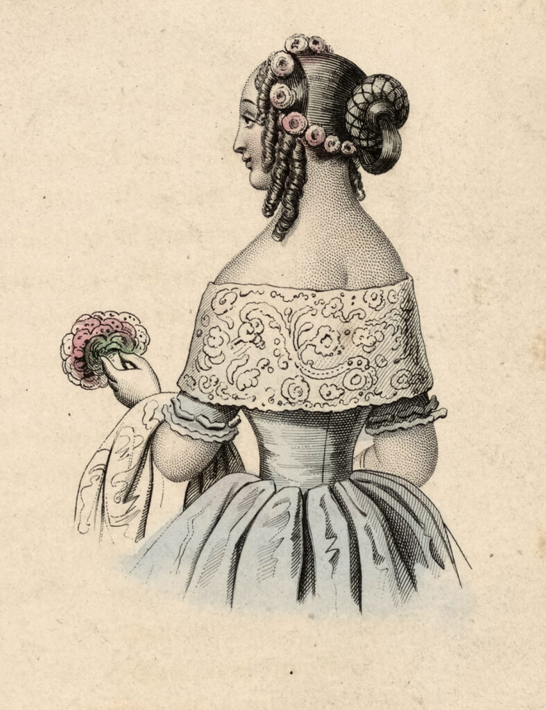 Victorian woman hairstyle bouquet image