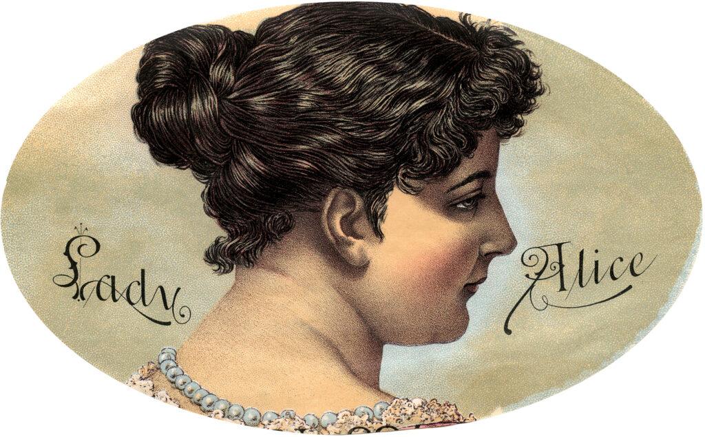 vintage woman pearls illustration