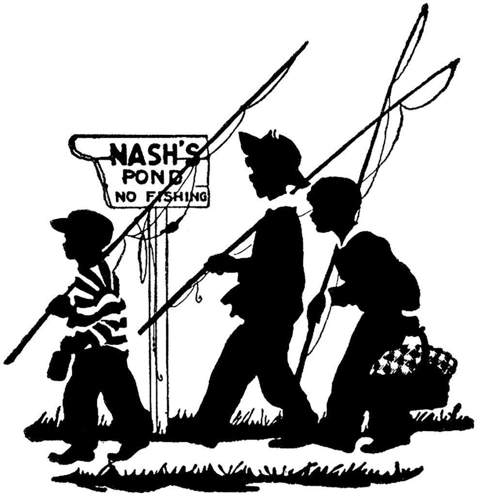 vintage boys going fishing illustration