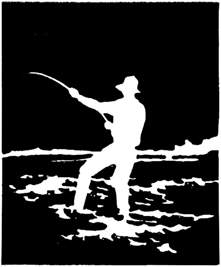 vintage man fishing silhouette image