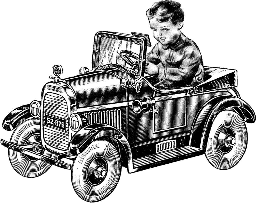 vintage pedal car boy image
