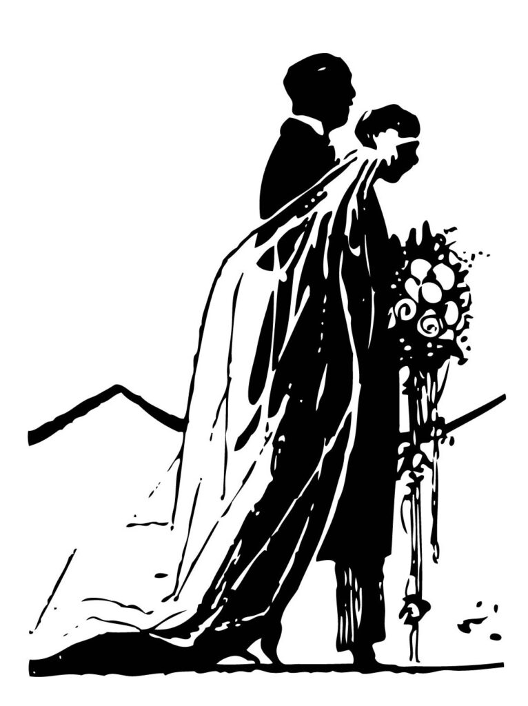vintage bride groom silhouette image