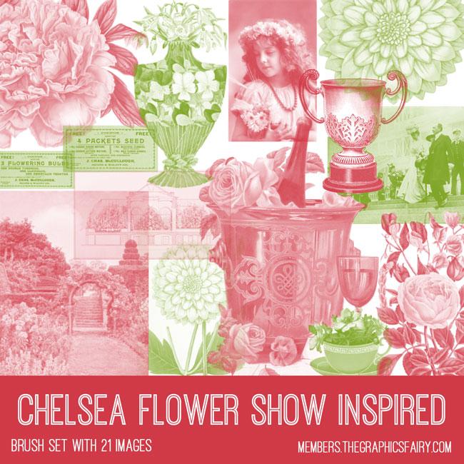 vintage Chelsea flower show inspired ephemera brush set