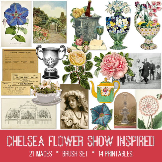 Chelsea flower show inspired vintage images