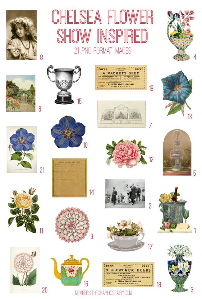 vintage Chelsea flower show inspired ephemera digital image bundle