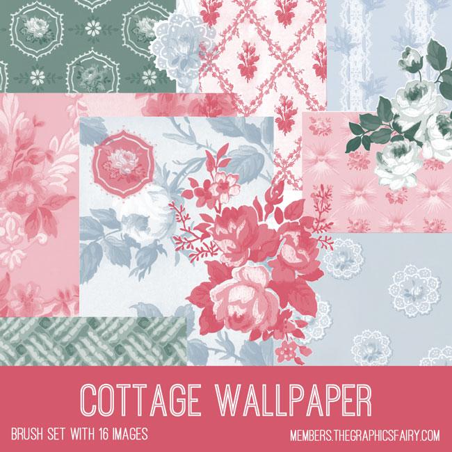 vintage cottage wallpaper ephemera brush set