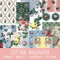 vintage cottage wallpaper ephemera bundle