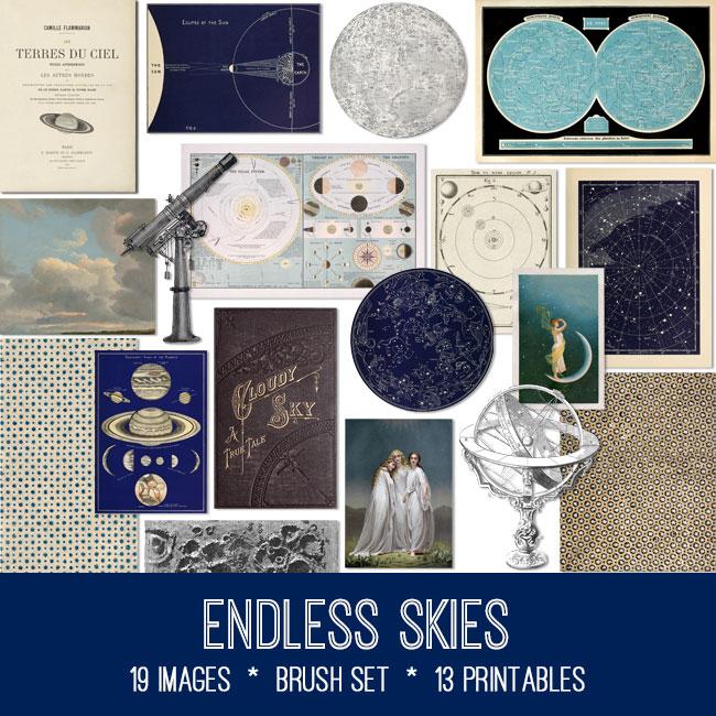 Endless Skies celestial ephemera vintage images
