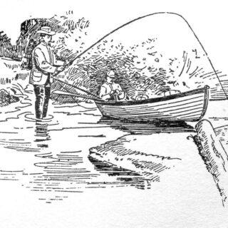 men fishing canoe illustration