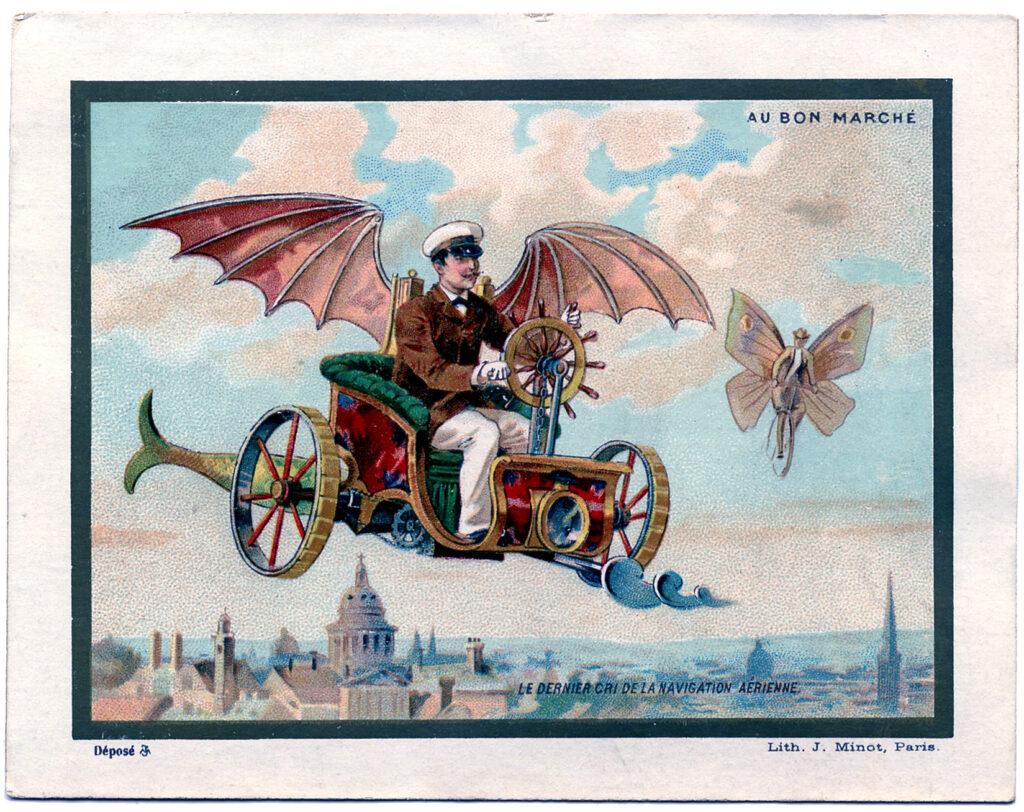 vintage steampunk flying machine image