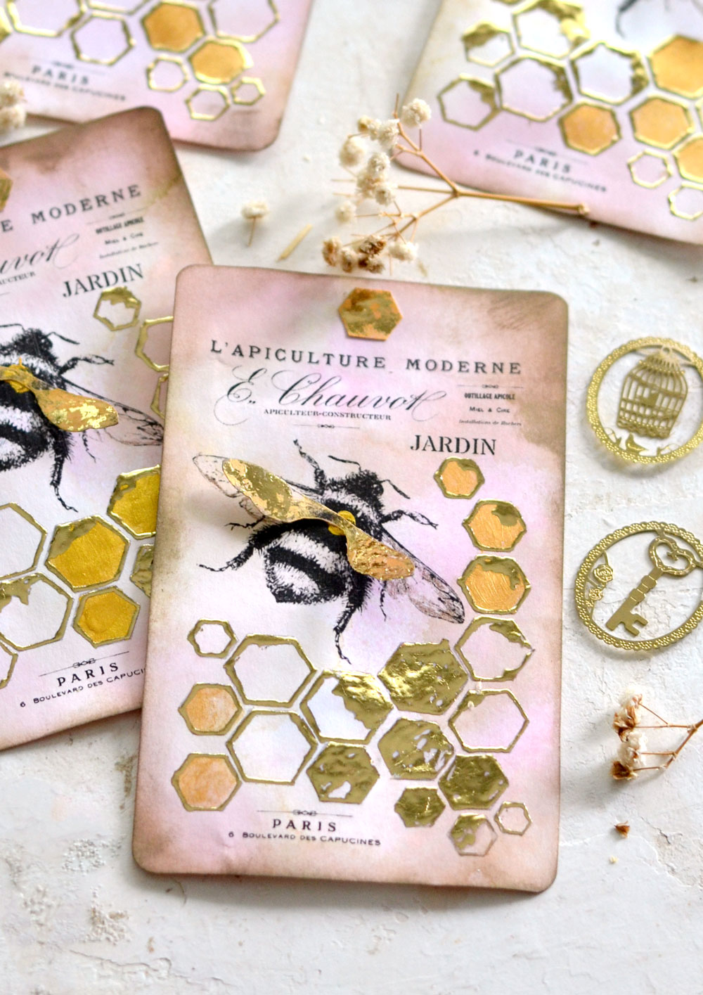 vintage French Gold Foil Honeycomb & Bee Tags