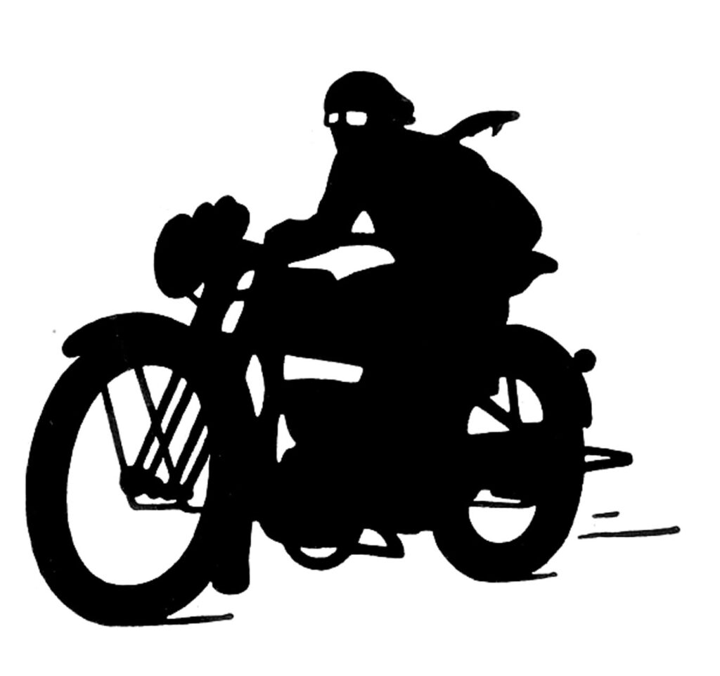 black white vintage motorcycle Images Silhouette