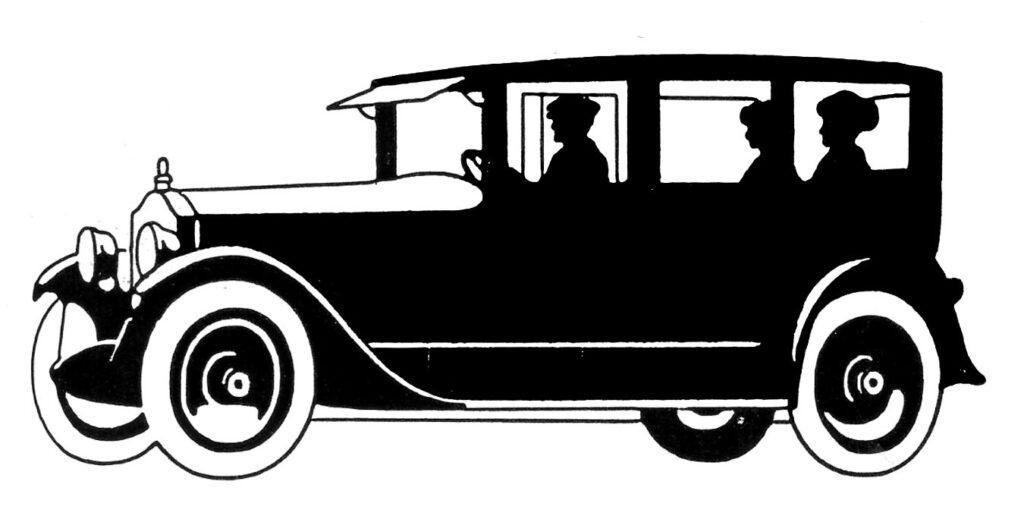 vintage automobile black white clipart