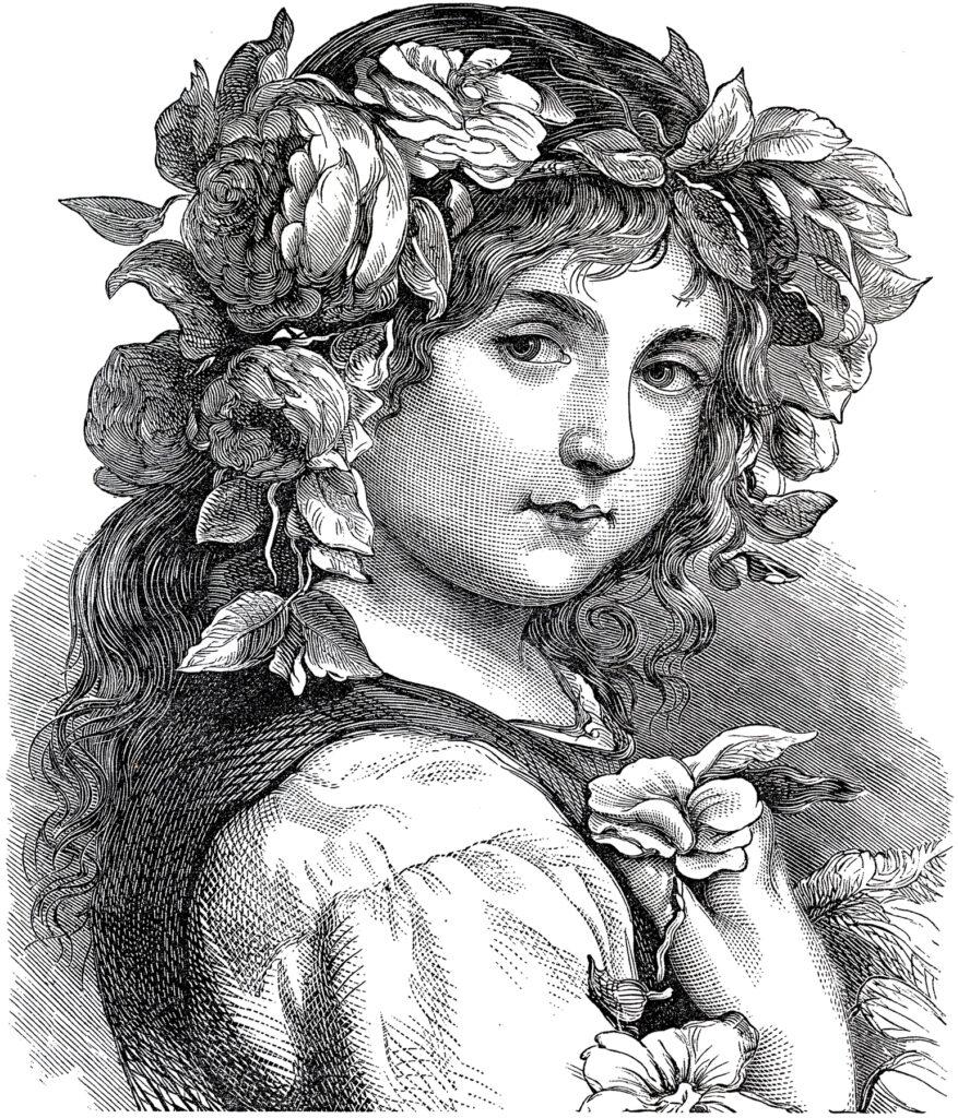 antique flower girl headress image