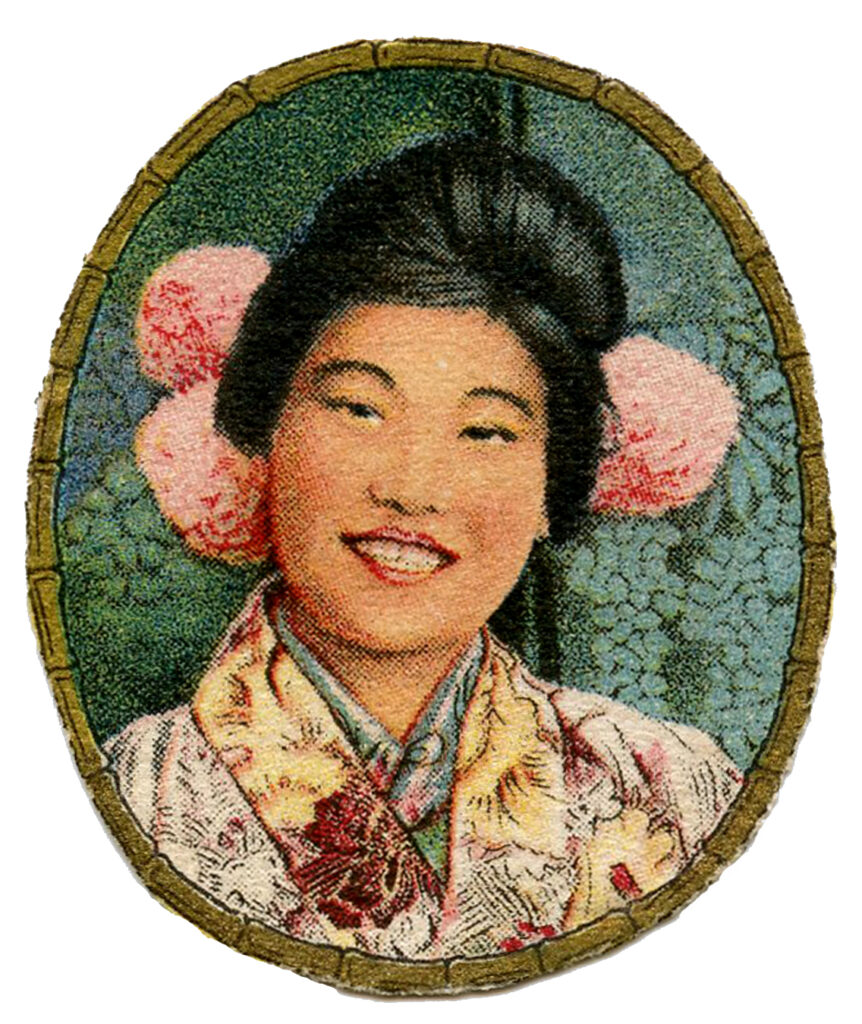 vintage Asian lady flowers peonies hairstyle illustration
