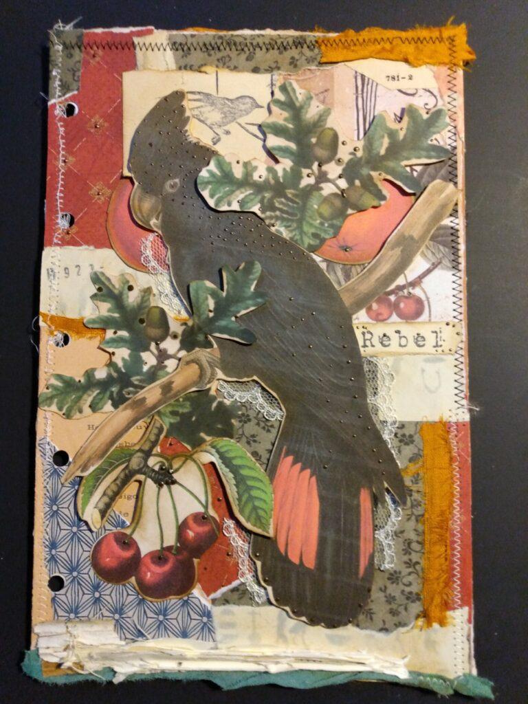 Black Parrot vintage ephemera journal page